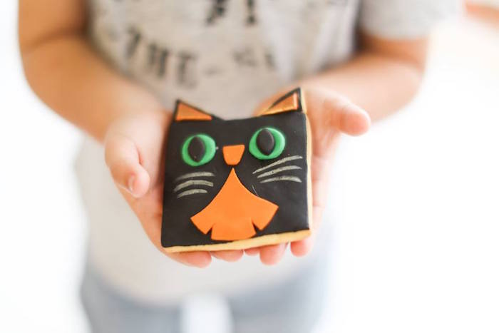 Black cat sugar cookie from a Modern Glam Halloween Party for Kids on Kara's Party Ideas | KarasPartyIdeas.com (13)