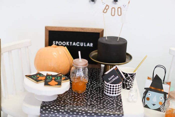 Sweet table from a Modern Glam Halloween Party for Kids on Kara's Party Ideas | KarasPartyIdeas.com (9)