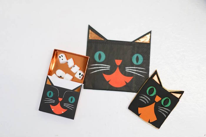 Black cat box, cookie and napkin from a Modern Glam Halloween Party for Kids on Kara's Party Ideas | KarasPartyIdeas.com (8)