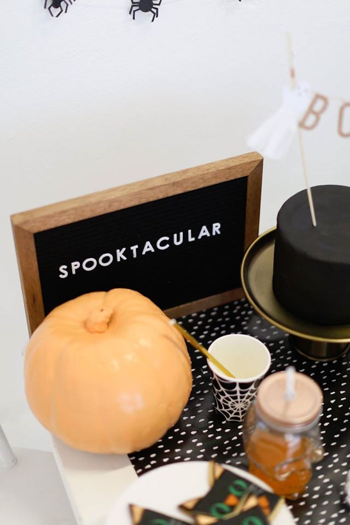 Spooktacular chalkboard from a Modern Glam Halloween Party for Kids on Kara's Party Ideas | KarasPartyIdeas.com (7)