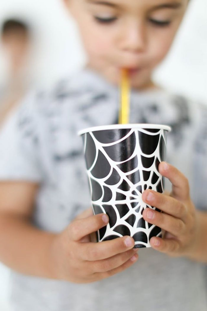 Spider web cup from a Modern Glam Halloween Party for Kids on Kara's Party Ideas | KarasPartyIdeas.com (6)