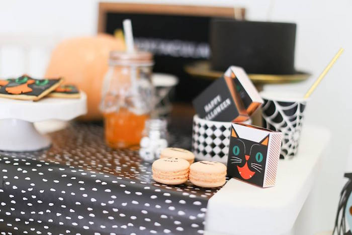 Kitty cat box and macarons from a Modern Glam Halloween Party for Kids on Kara's Party Ideas | KarasPartyIdeas.com (5)