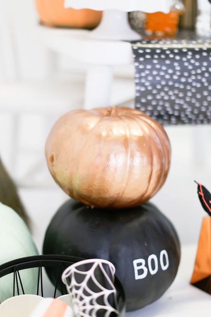 Glam pumpkins from a Modern Glam Halloween Party for Kids on Kara's Party Ideas | KarasPartyIdeas.com (20)