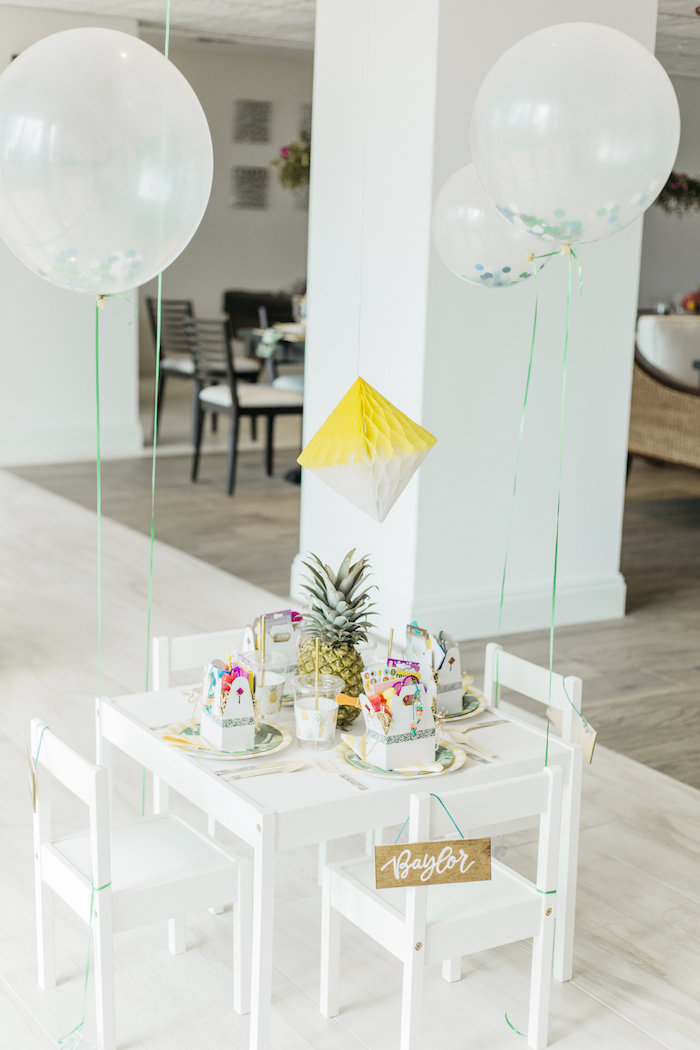 "Kid's table from a Modern Tropical ""Cheers to Sixty"" Birthday Party on Kara's Party Ideas 