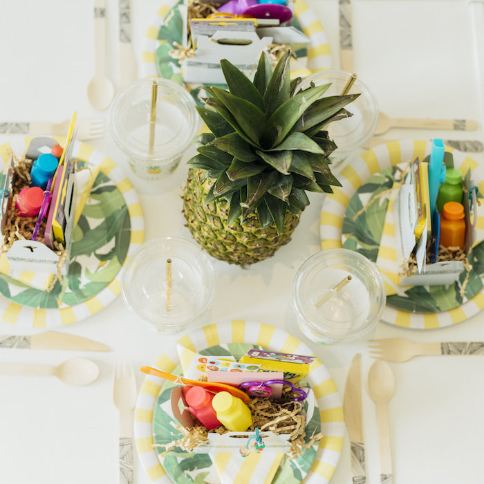 "Kid's tabletop from a Modern Tropical ""Cheers to Sixty"" Birthday Party on Kara's Party Ideas 