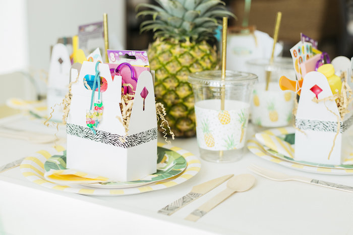 "Kid's place setting from a Modern Tropical ""Cheers to Sixty"" Birthday Party on Kara's Party Ideas 