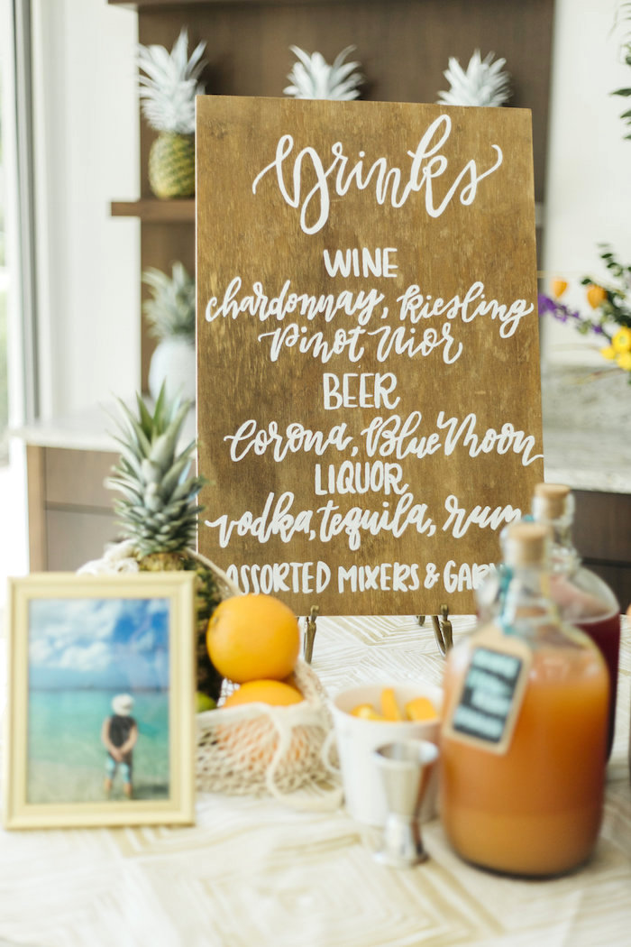 "Drink menu from a Modern Tropical ""Cheers to Sixty"" Birthday Party on Kara's Party Ideas 