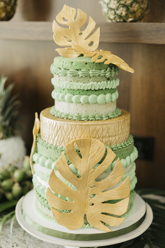 "Tropical cake from a Modern Tropical ""Cheers to Sixty"" Birthday Party on Kara's Party Ideas 