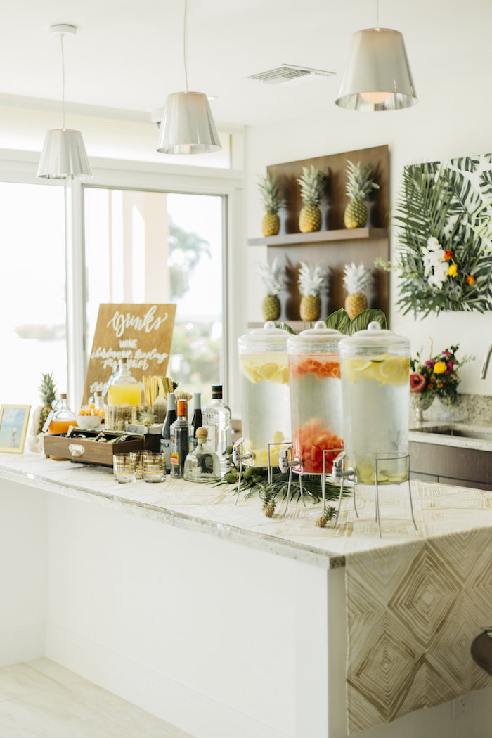"Drink table + bar from a Modern Tropical ""Cheers to Sixty"" Birthday Party on Kara's Party Ideas 