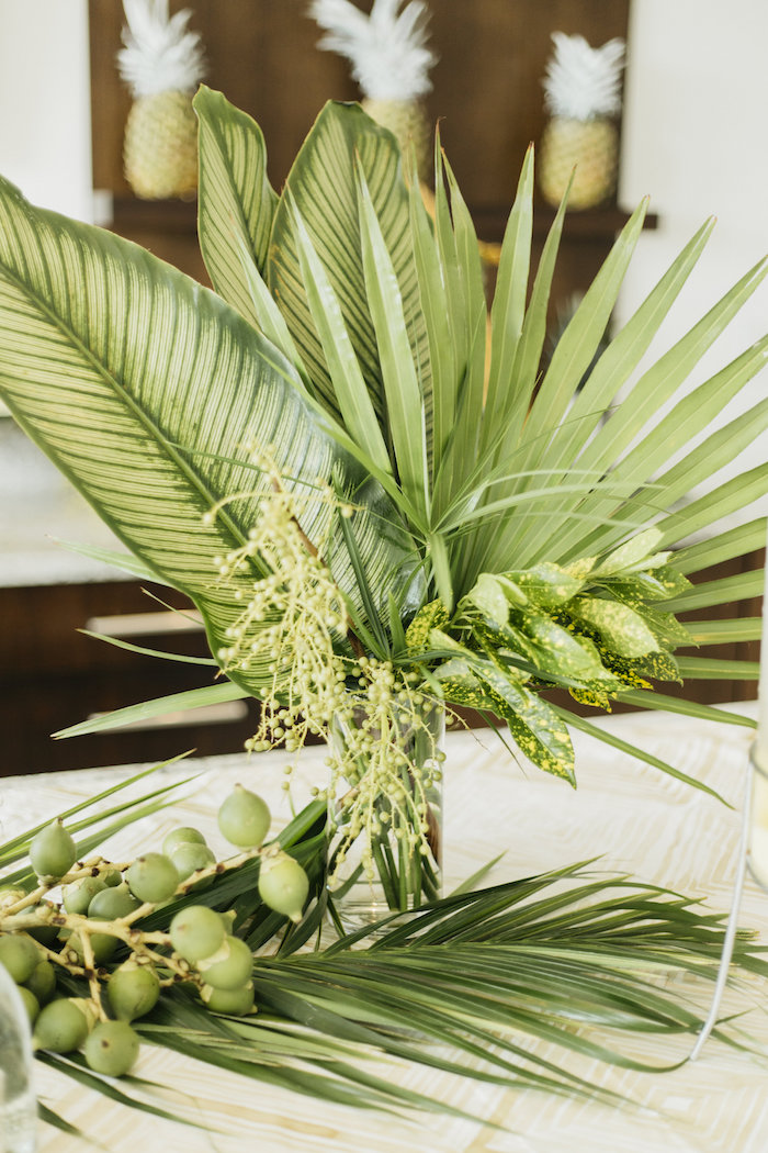 "Tropical centerpiece from a Modern Tropical ""Cheers to Sixty"" Birthday Party on Kara's Party Ideas 