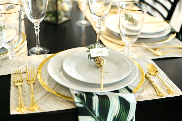 "Pineapple place setting from a Modern Tropical ""Cheers to Sixty"" Birthday Party on Kara's Party Ideas 