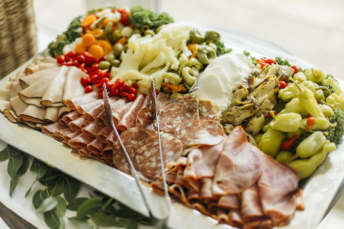 "Antipasto tray from a Modern Tropical ""Cheers to Sixty"" Birthday Party on Kara's Party Ideas 