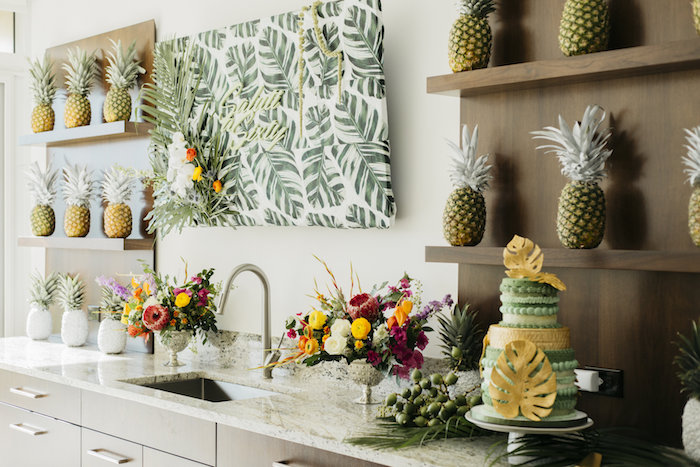 "Modern Tropical ""Cheers to Sixty"" Birthday Party on Kara's Party Ideas 