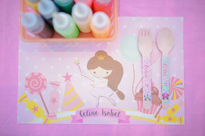 Place setting from a Nutcracker Ballerina Birthday Party on Kara's Party Ideas | KarasPartyIdeas.com (42)