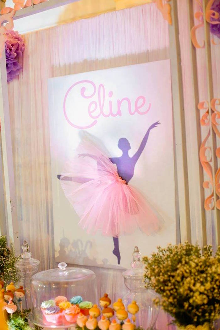 Ballerina backdrop from a Nutcracker Ballerina Birthday Party on Kara's Party Ideas | KarasPartyIdeas.com (41)
