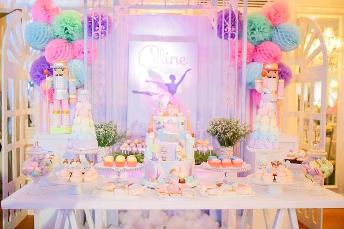 Dessert spread from a Nutcracker Ballerina Birthday Party on Kara's Party Ideas | KarasPartyIdeas.com (40)