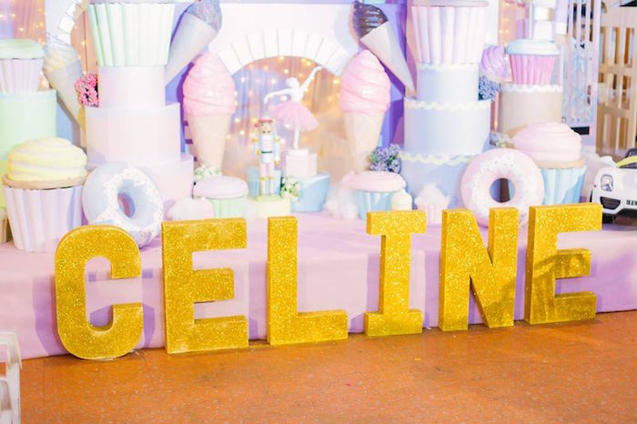 Glitter gold block letters from a Nutcracker Ballerina Birthday Party on Kara's Party Ideas | KarasPartyIdeas.com (53)