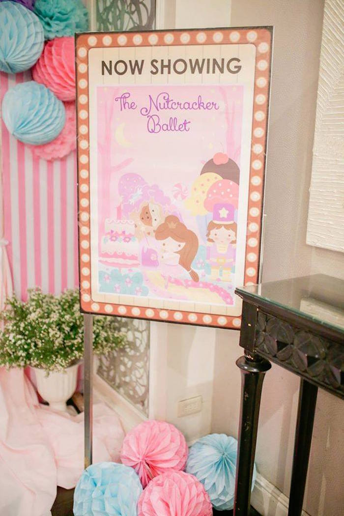 """Now Showing"" party sign from a Nutcracker Ballerina Birthday Party on Kara's Party Ideas 