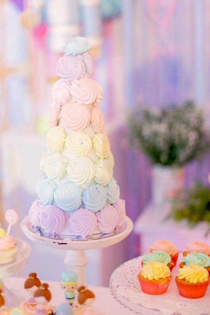 Meringue tower from a Nutcracker Ballerina Birthday Party on Kara's Party Ideas | KarasPartyIdeas.com (27)