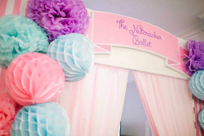 Curtain from a Nutcracker Ballerina Birthday Party on Kara's Party Ideas | KarasPartyIdeas.com (24)