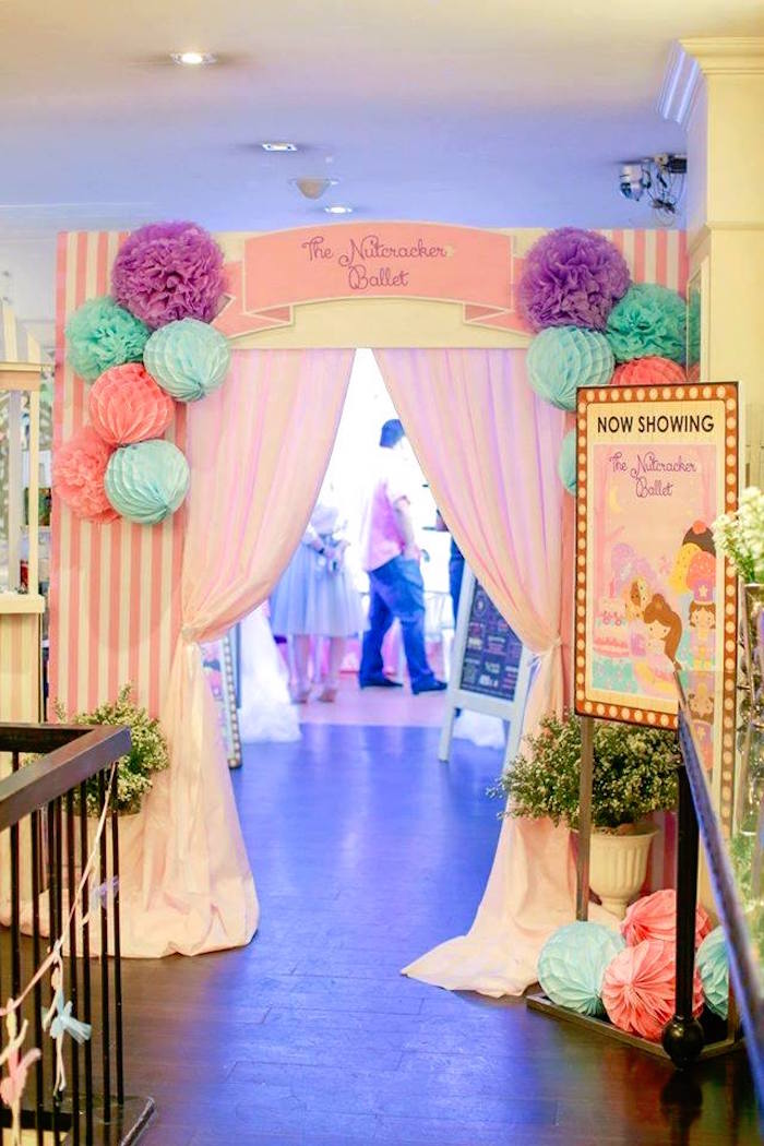 Curtain entrance from a Nutcracker Ballerina Birthday Party on Kara's Party Ideas | KarasPartyIdeas.com (19)