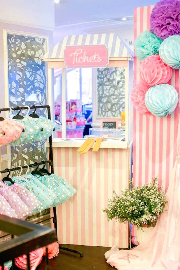 Ticket booth from a Nutcracker Ballerina Birthday Party on Kara's Party Ideas | KarasPartyIdeas.com (18)