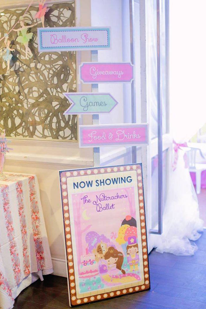 Party signs from a Nutcracker Ballerina Birthday Party on Kara's Party Ideas | KarasPartyIdeas.com (13)