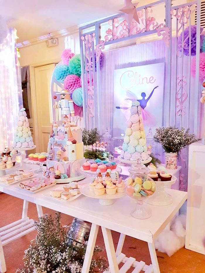 Dessert table from a Nutcracker Ballerina Birthday Party on Kara's Party Ideas | KarasPartyIdeas.com (9)