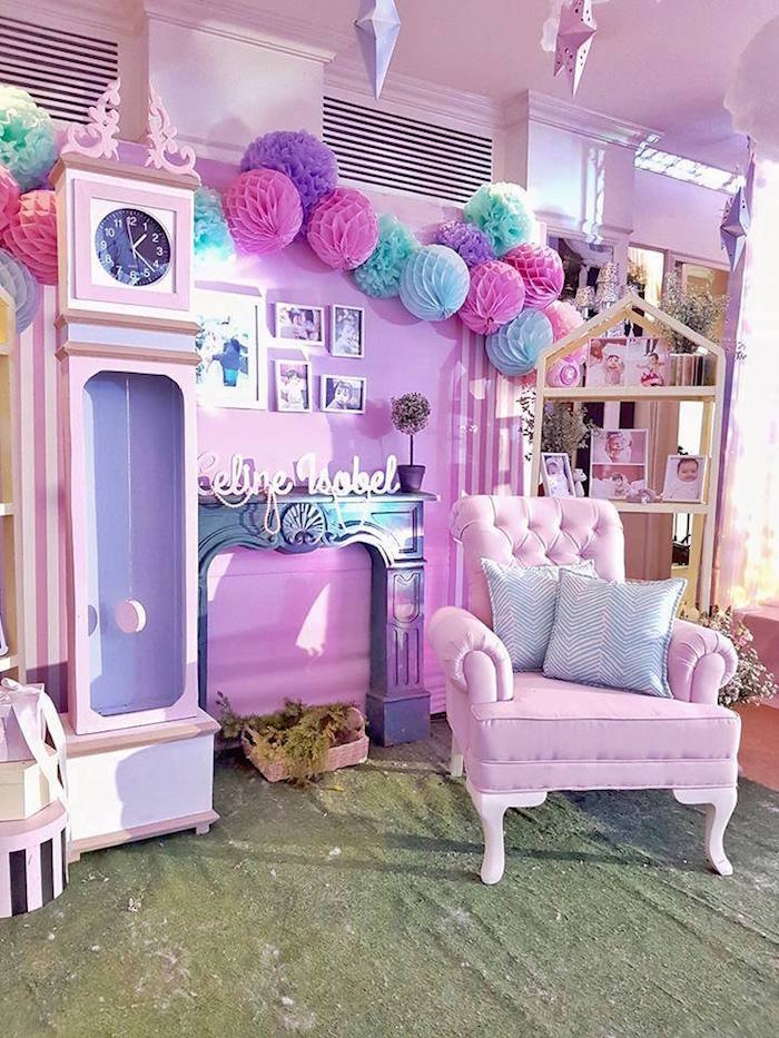 Lounge area + backdrop from a Nutcracker Ballerina Birthday Party on Kara's Party Ideas | KarasPartyIdeas.com (5)