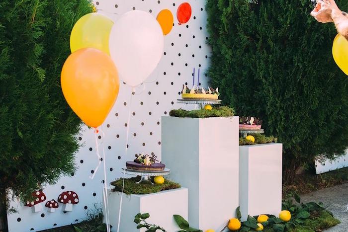 Cake corner from an Outdoor Brunch Birthday Party on Kara's Party Ideas | KarasPartyIdeas.com (15)