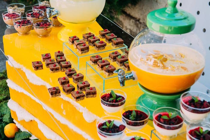 Beverage & sweet table from an Outdoor Brunch Birthday Party on Kara's Party Ideas | KarasPartyIdeas.com (12)