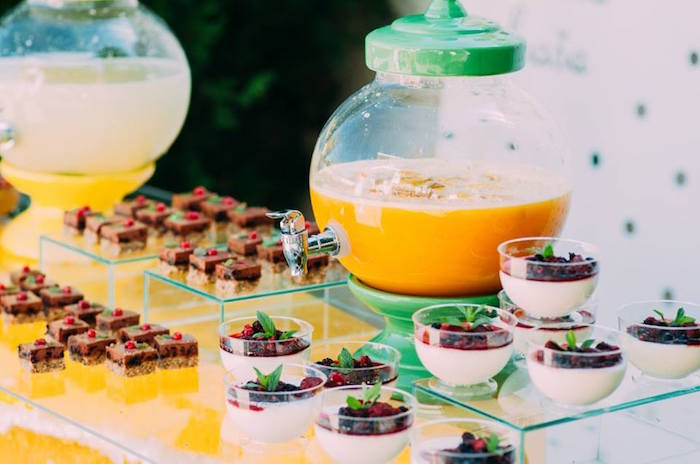 Beverage Sweet Table From An Outdoor Brunch Birthday Party On Karas Ideas