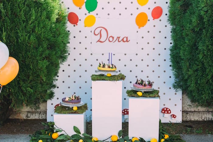 Cake display from an Outdoor Brunch Birthday Party on Kara's Party Ideas | KarasPartyIdeas.com (2)