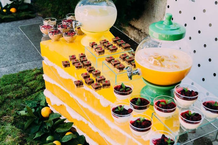 Cake-inspired dessert table from an Outdoor Brunch Birthday Party on Kara's Party Ideas | KarasPartyIdeas.com (23)