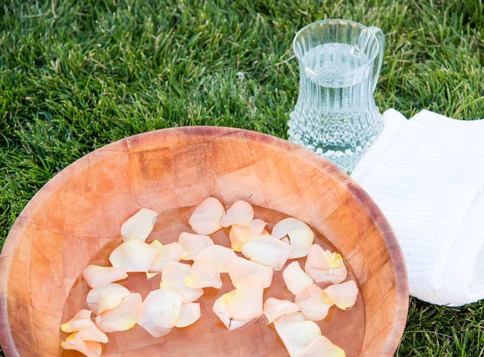 Bowl to wash each other's feet from an Outdoor Vintage Vow Renewal on Kara's Party Ideas   KarasPartyIdeas.com (23)
