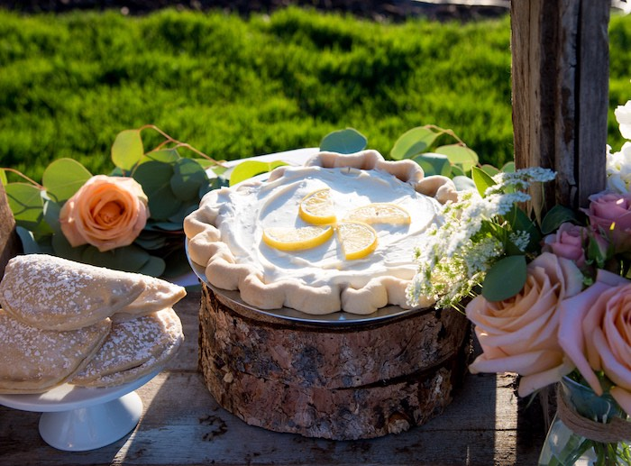 Lemon meringue pie from an Outdoor Vintage Vow Renewal on Kara's Party Ideas | KarasPartyIdeas.com (22)