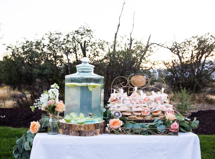 Beverage/favor table from an Outdoor Vintage Vow Renewal on Kara's Party Ideas | KarasPartyIdeas.com (18)