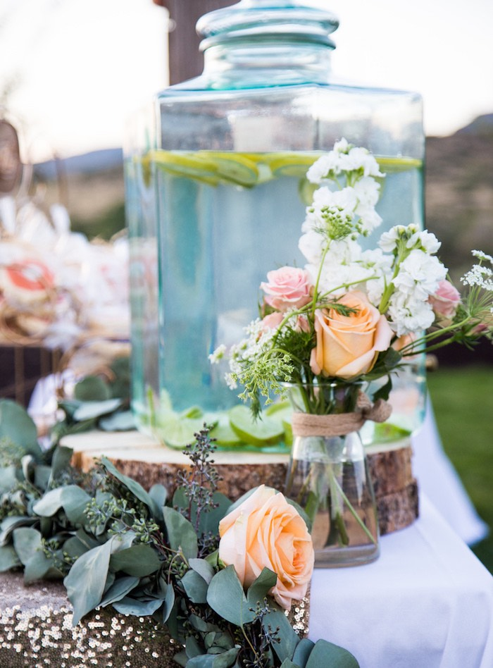 Fresh floral centerpieces and beverage dispense from an Outdoor Vintage Vow Renewal on Kara's Party Ideas | KarasPartyIdeas.com (16)
