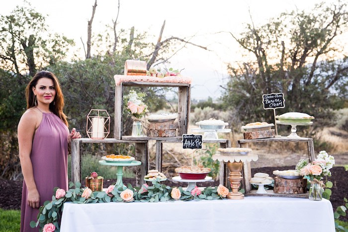 Dessert table from an Outdoor Vintage Vow Renewal on Kara's Party Ideas   KarasPartyIdeas.com (14)