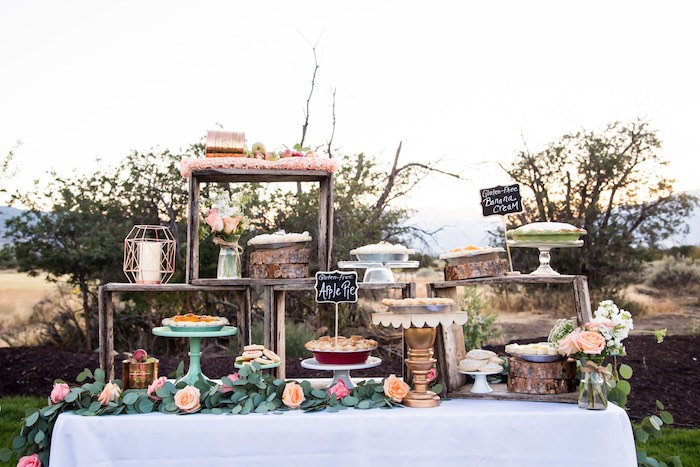 Dessert table from an Outdoor Vintage Vow Renewal on Kara's Party Ideas | KarasPartyIdeas.com (11)