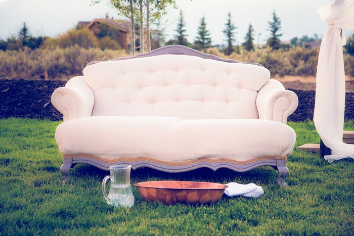 Couch from an Outdoor Vintage Vow Renewal on Kara's Party Ideas | KarasPartyIdeas.com (6)
