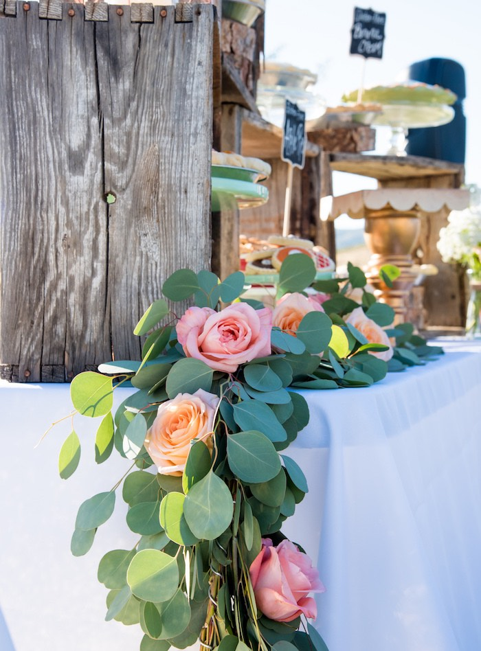 Rose garland + bunting from an Outdoor Vintage Vow Renewal on Kara's Party Ideas | KarasPartyIdeas.com (31)