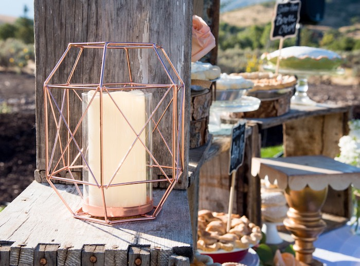 Copper candle dish from an Outdoor Vintage Vow Renewal on Kara's Party Ideas | KarasPartyIdeas.com (30)