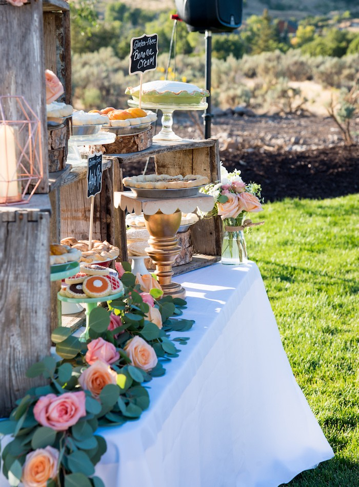Side-view of a dessert table from an Outdoor Vintage Vow Renewal on Kara's Party Ideas | KarasPartyIdeas.com (29)