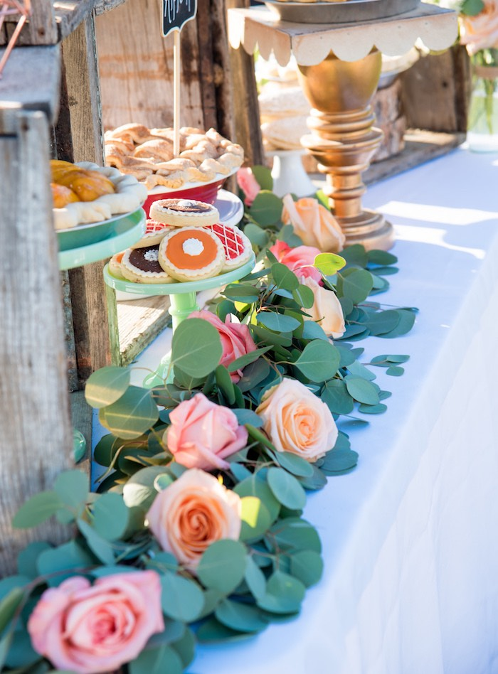 Rose garland + bunting from an Outdoor Vintage Vow Renewal on Kara's Party Ideas | KarasPartyIdeas.com (28)
