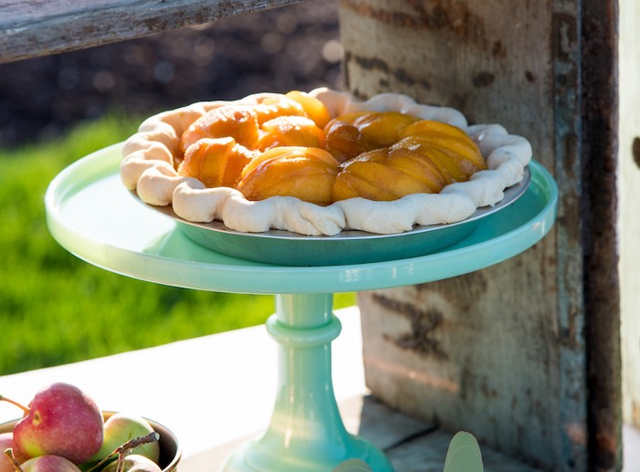 Peach pie from an Outdoor Vintage Vow Renewal on Kara's Party Ideas | KarasPartyIdeas.com (27)