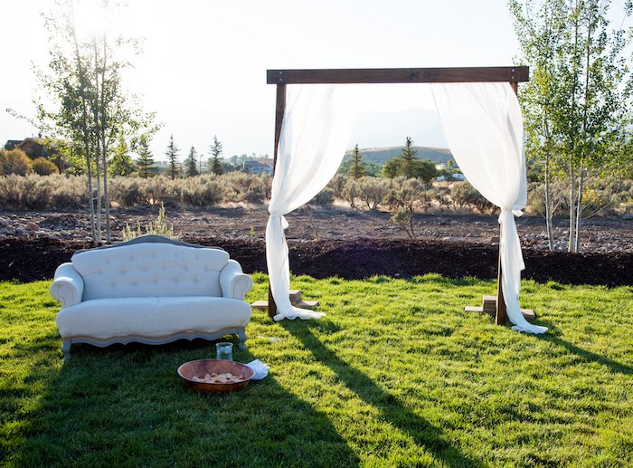 Awning + couch from an Outdoor Vintage Vow Renewal on Kara's Party Ideas | KarasPartyIdeas.com (24)