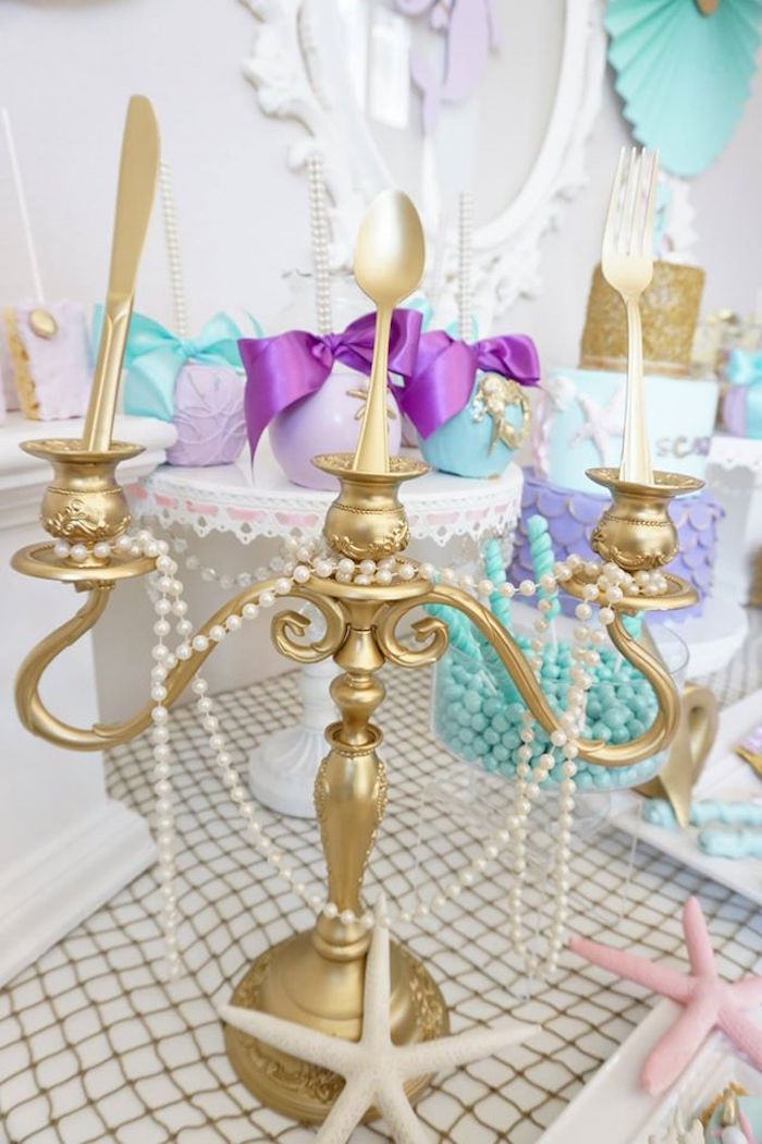 Gold candleabra from a Pastel Mermaid Party on Kara's Party Ideas | KarasPartyIdeas.com (12)