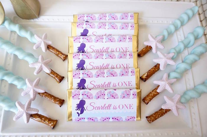 Dipped pretzel sticks and chocolate bars from a Pastel Mermaid Party on Kara's Party Ideas | KarasPartyIdeas.com (11)