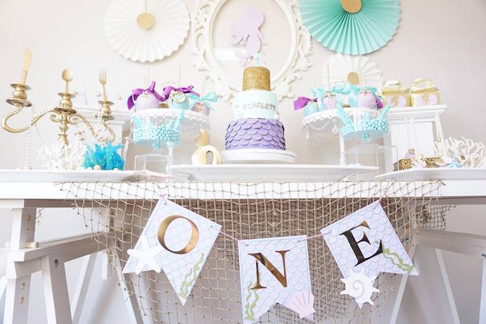 Net banner from a Pastel Mermaid Party on Kara's Party Ideas | KarasPartyIdeas.com (10)